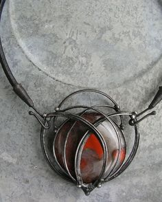 Flapper necklace of jasper breccia 6x7cm, leather, tin sold by želmira on fler.cz, Catalogue No. 3467424