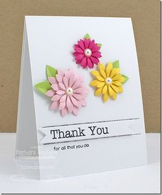 Die-namics Upsy Daisy - CAS Card - love the colors of the flowers - bjl