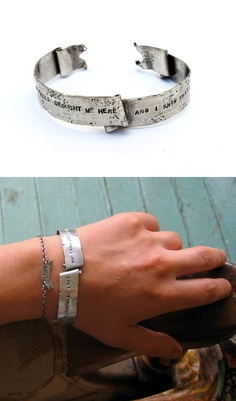 Custom Banner Cuff Bracelet / laurel hill jewelry