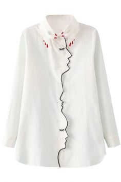 Fashion Unique White Button Down Blouse OASAP.com