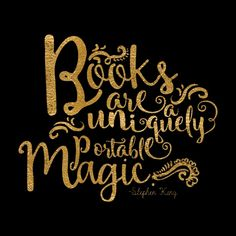 Books are a Uniquely Portable Magic Gold Art Print