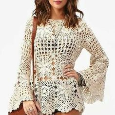 Crochet tunic boho top pullover sexy lace beach cover up dress pool party gipsy Plus Size Mode Crochet, Crochet Tunic, Crochet Clothes, Crochet Lace, Crochet Summer, Crochet Tops, Crochet Dresses, Beach Crochet, Blanket Crochet