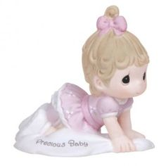 Precious Moments® Growing in Grace—Age 1 Blonde Hair Precious Baby Girl Crawling Bisque Porcelain Figurine, , large Brunch Outfit, Baby Shower Gifts, Baby Gifts, Kids Gifts, Birthday Traditions, Grow In Grace, Baby Kicking, Precious Moments Figurines, Thing 1