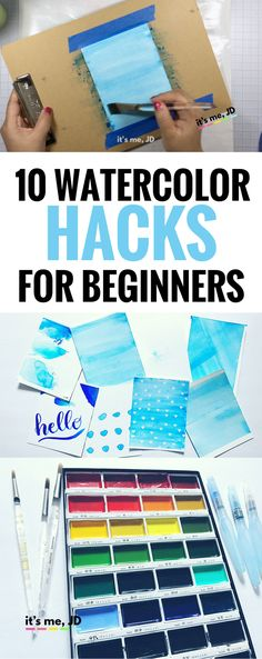 10 Watercolor Hacks For Beginners Hacks For Beginners, Tips and Tricks to Making Watercolor Painting Easier, Includes video tutorial Watercolor Beginner, Watercolor Paintings For Beginners, Watercolor Tips, Watercolor Projects, Beginner Painting, Watercolour Tutorials, Watercolor Artists, Watercolor Techniques, Watercolor Paper
