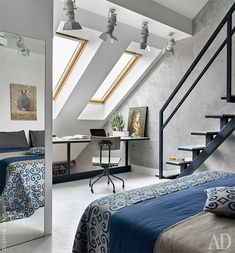 the curious bumblebee: Photo Attic Living Rooms, Attic Bedroom Small, Best Interior, Interior And Exterior, Interior Design, Interior Ideas, Loft Stairs, Attic Design, Concrete Design