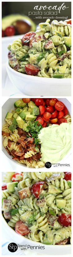 Avocado Pasta Salad with Avocado Dressing Recipe. Cold pasta salads are the perfect & satisfying quick dinner or lunch! This delicious pasta salad recipe is loaded with avocados, crispy bacon & juicy cherry tomatoes tossed in a homemade avocado dressing! Pasta Salat, Think Food, Cooking Recipes, Healthy Recipes, Potluck Recipes, Best Dinner Dishes, Potluck Dinner, Sunday Dinner Recipes, Dinner Dessert