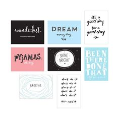 "Ergänzungsset Plakate ""Fun"", ""Poster Light Box Sheets"", für die Poster Light Box, 8-teilig, von A Little Lovely Company"