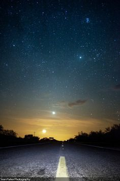 Road to Moon, Venus, Jupiter, Pleiades, and Orion | sean parker