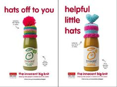 Innocent Big Knit Campaign in association with Age Action Ireland Innocent Drinks, Wooly Hats, Big Knits, Bottle Packaging, Diy Crochet, Hot Sauce Bottles, Innovation, Ireland, Campaign
