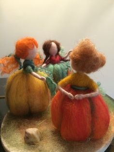 Fairies Three Pumpkins are a three girlfriends and each of them has its own character. Look! Bright autumn colors... All three girlfriends - pumpkins are different and made with many different components.  This may be the whole composition entirely or one fairy individually (each - 26 euro). It could be your choice of color and poses. Each of them I install on a piece of eucalyptus bark. Height is 11 cm. Thank you for visiting my shop and I hope that my creations will raise your spirits