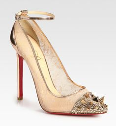 Christian Louboutin #lace #spikes shoes