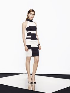 KAREN MILLEN ENGLAND Stripe Knit Collection Dress Lyst