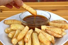 Crispy apple fries tossed with cinnamon sugar and dipped in caramel sauce... It's autumn in a finger food.