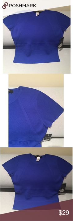 """NWT Jones New York Jewel Tone Blue Ribbed Top PM Vibrant NWT Jones New York royal blue short sleeve knit top. Pretty jewel tone!✨ Ribbing on torso & sleeve caps. Wide horizontal ribbing @ waist for contrast & definition. 56% rayon/44% nylon. Great for office to wear w/slacks & wear alone or as a shell under a jacket. Or toss w/a black suede or leather skirt & tall boots.  Also a great canvas to show off a statement necklace!  Measurements taken flat: UA to UA approx. 16-1/2"""", Shoulder to Hem…"""