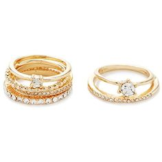 Forever 21 Rhinestoned Ring Set ($5.90) ❤ liked on Polyvore featuring jewelry, rings, womens jewellery, thin band rings, forever 21 jewelry, thin gold ring and rhinestone jewelry