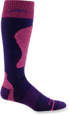 The Darn Tough Padded Cushion Ski/Ride women's socks are for those who prefer padding at the shins and along the entire length of the feet.