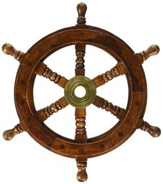 Wooden Ship Steering Wheel Boat Nautical Room Wall Pirate Decor Beach Wood Brass #Sailor