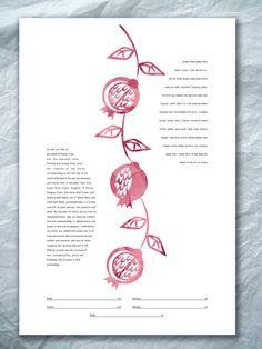 Ketubah Pomegranate branch by NaomiBroudo on Etsy