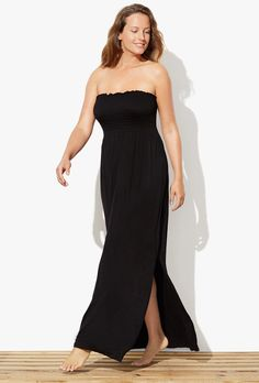 Black Smocked Maxi Dress | Swimsuits For All