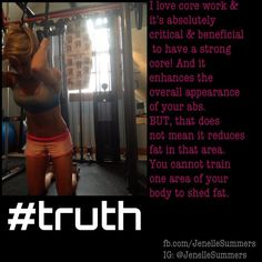"""Do you love ab work? I do!! Most of you are already fully aware of this fact below, but if you weren't aware, you're probably thinking.. """"grrrrrreat!So what do I do to change my trouble spots?"""" As you get leaner & stronger (higher fat burning metabolism with more muscle), those trouble spots start to diminish. And you already know getting leaner & stronger requires an improvement in your nutrition, intense strength training"""