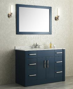 Best Photo Gallery For Website Ariel Radcliff single Inch Midnight Blue Transitional Bathroom Vanity Set
