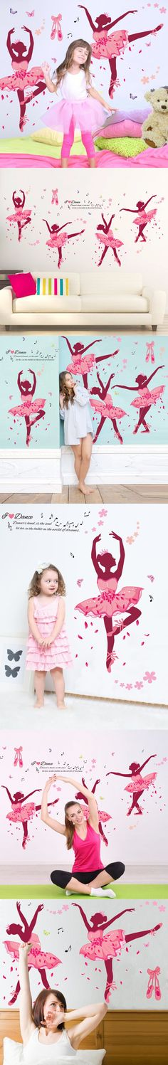 2016 Hot Sale Ballet Girl Wall Stickers Creative DIY Cartoon Home Decor Decals for Kids Bedroom Sofa Backdrop Decoration