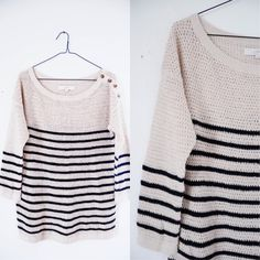 The Loft Mesh Cardigan Size Large • the loft // beige and black // size large // keyhole kind of pattern // buttons on the left shoulder // no trades LOFT Sweaters Crew & Scoop Necks