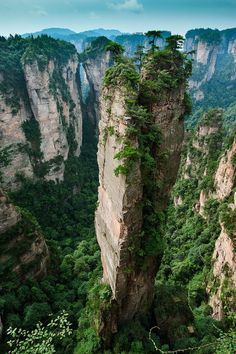 Located in south central China and on the south bank of the Yangtze River is the province of Hunan. There, you can find the split-pinnacle stunners as seen above.