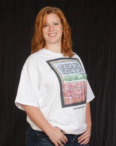 """Pictured here wearing a koplerart Tee is the Crazy Coupon Chick """" MISSIE MORRIS """" who really makes my Art look good !"""