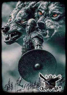 norse mythology Geri and Freki by thecasperart Viking Tattoo Sleeve, Norse Tattoo, Armor Tattoo, Tattoo Ink, Sleeve Tattoos, Wolf Tattoo Design, Viking Symbols, Viking Art, Wolf Tattoos