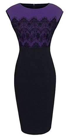 Homeyee® Women's Voguish Colorblock Lace Splicing Crew Neck Bodycon Dress 762 (6, Purple) HOMEYEE http://www.amazon.com/dp/B01362NP78/ref=cm_sw_r_pi_dp_B33vwb1CQ15PX