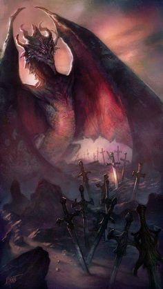 A Dragon in a field of Swords