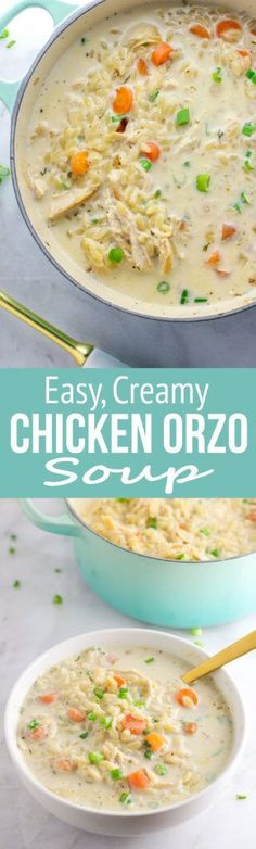 Chicken Orzo Soup Creamy Chicken Orzo Soup is pure comfort!Creamy Chicken Orzo Soup is pure comfort! Think Food, Food For Thought, Cooking Recipes, Healthy Recipes, Vegetarian Cooking, Soup And Sandwich, Soup And Salad, Soups And Stews, Chicken Recipes