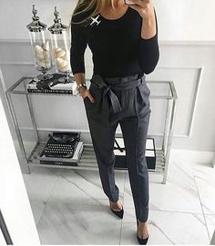 Love the tie waist pants work outfits women winter office style, fall work fashion, Casual Work Outfits, Winter Outfits For Work, Mode Outfits, Work Casual, Outfit Work, Creative Work Outfit, Winter Work Dress, Classy Womens Outfits, Fall Work Wear