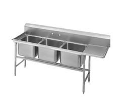 """Advance Tabco Regaline Sink three Cmpt. 20"""" - 94-23-60-36R    Regaline Sink, three compartment, w/right-hand drainboard, 20"""" front-to-back x 20"""" W compartment, 14"""" deep, with 11"""" high splash, s/s open frame base, boxed crossrails, 36"""" drainboard, s/s bullet feet, 14/304 stainless steel, overall 27"""" F/B x 107"""" L/R"""