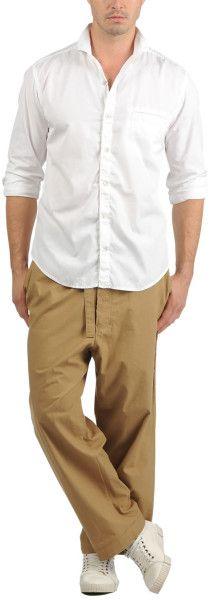 Yohji Yamamoto Plush Cloth Open Collar Shirt in White for Men