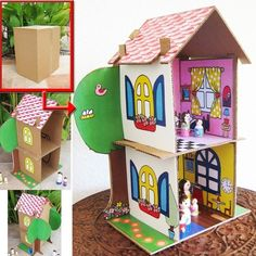PDF Dollhouse Pattern made from cardboard boxes