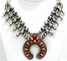 Navajo Squash Blossom Necklace Red Orange Spiny Shell Naja Sterling Silver Beads