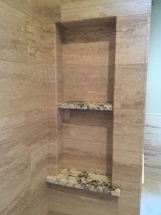 Soap box with crosscut travertine. Grain of travertine folds in corners and into soap box. Design by Glueks Custom LLC.