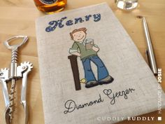 'Diamond Geezer' Appliquéd Fabric Journal Cover