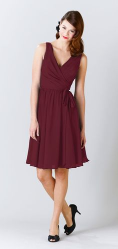 Kennedy Blue Chloe is a flattering chiffon knee length option that suits every figure. Shown in Bordeaux.