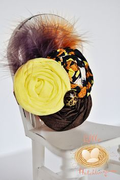 brown yellow orange cheetah flower headband by LittleHatchlings, $16.50