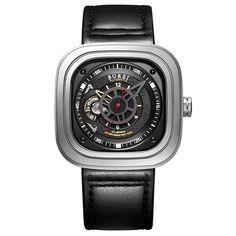 BUREI Mens Mechanical Automatic Wristwatch 5ATM Genuine Leather Band Sport Watch #BUREI #Sport