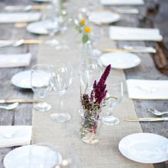 We adore this rustic reception table setting...