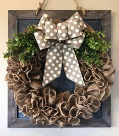 Check out our wreaths selection for the very best in unique or custom, handmade pieces from our wreaths shops. Burlap Crafts, Wreath Crafts, Diy Wreath, Wreath Ideas, Diy Spring Wreath Burlap, Bow For Wreath, Burlap Christmas Wreaths, Burlap Wreath Tutorial, Tulle Wreath