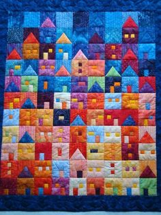 Bedspreads with patchwork houses 0 Patchwork Quilting, Scrappy Quilts, Longarm Quilting, Mini Quilts, Machine Quilting, Quilting Projects, Crazy Quilting, Quilting Ideas, Baby Quilts