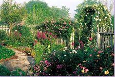 love the abundance of a cottage garden!   Gardens, gates, paths...
