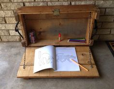 Ammo box wall desk, hanging desk, wall storage  on Etsy, $65.00  Upcycled wooden crate turned into a desk perfect for kids and grown ups