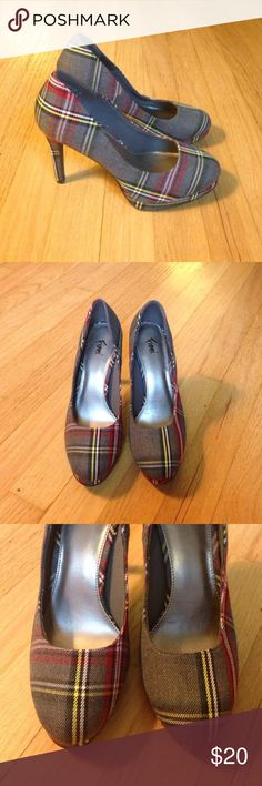 🎉SALE!🎉 Almost New Grey Plaid Heels - 6 1/2 Almost New Grey Plaid Heels - size 6 1/2. Grey with yellow, white, red, navy , and green plaid. I don't even think these have been worn. They are almost new, see pics for details. FIONI Clothing Shoes Heels