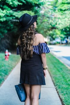 Love this cute overall outfit with the striped off the shoulder top! // Gracefullee Made